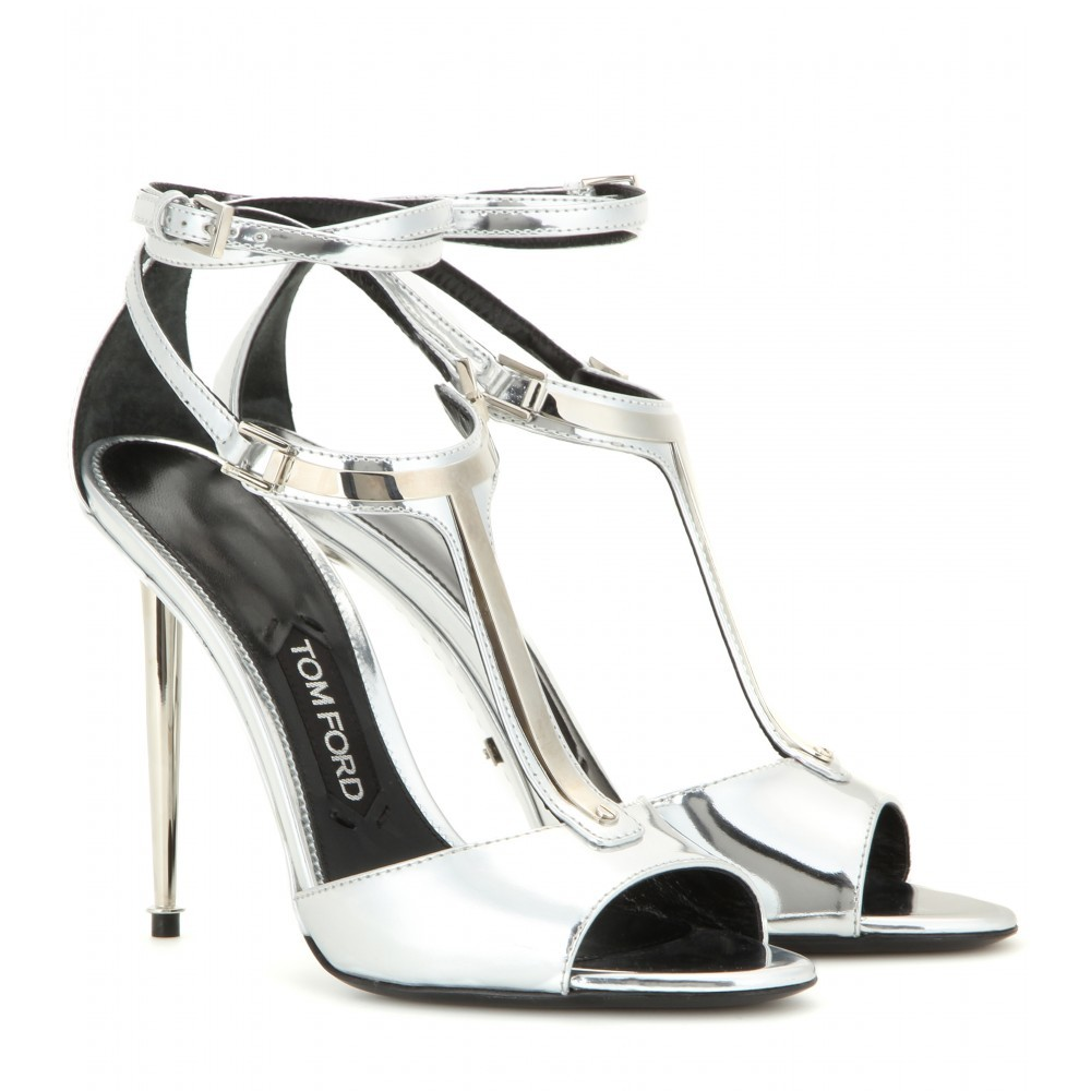 Elena Metallic Leather Sandals - predominant colour: silver; occasions: evening, occasion; material: leather; heel height: high; ankle detail: ankle strap; heel: stiletto; toe: open toe/peeptoe; style: strappy; finish: metallic; pattern: plain; season: a/w 2015; wardrobe: event