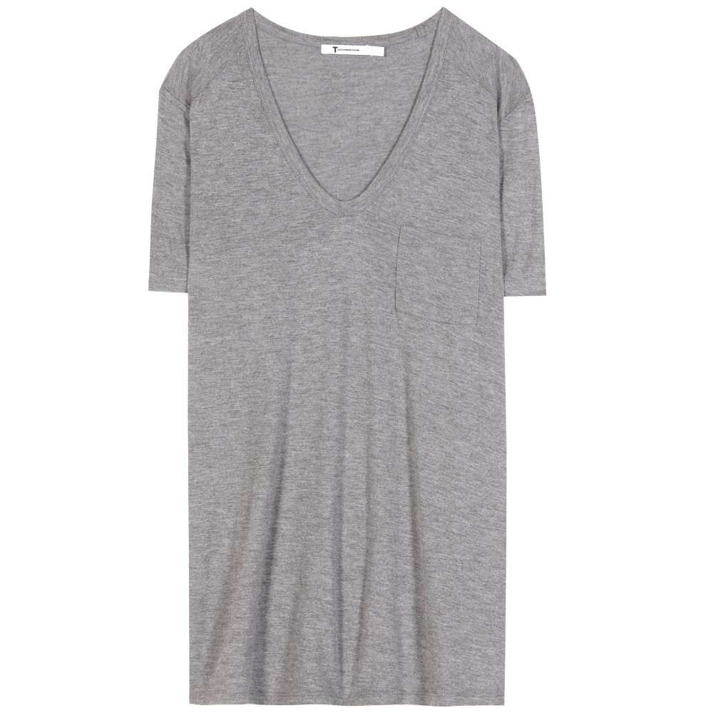 Classic Jersey T Shirt - neckline: low v-neck; pattern: plain; length: below the bottom; style: t-shirt; predominant colour: mid grey; occasions: casual; fibres: viscose/rayon - 100%; fit: body skimming; sleeve length: short sleeve; sleeve style: standard; pattern type: fabric; texture group: jersey - stretchy/drapey; season: a/w 2015; wardrobe: basic