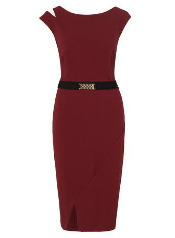 Womens **Another Label Textured Contrast Dress Red - style: shift; length: below the knee; neckline: round neck; sleeve style: capped; fit: tailored/fitted; pattern: plain; waist detail: belted waist/tie at waist/drawstring; predominant colour: burgundy; secondary colour: black; fibres: polyester/polyamide - stretch; occasions: occasion; sleeve length: sleeveless; pattern type: fabric; texture group: jersey - stretchy/drapey; season: a/w 2015; wardrobe: event