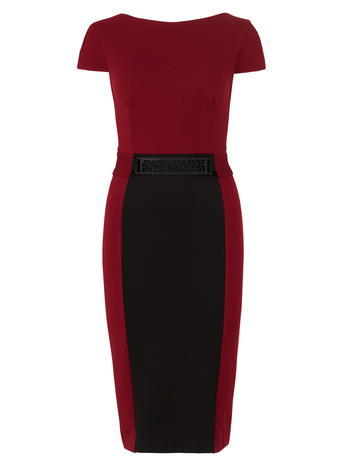 Womens **Another Label Cap Sleeve Pencil Dress Red - style: shift; length: below the knee; neckline: round neck; fit: tailored/fitted; secondary colour: black; occasions: evening, occasion; fibres: polyester/polyamide - stretch; sleeve length: short sleeve; sleeve style: standard; pattern type: fabric; pattern: colourblock; texture group: jersey - stretchy/drapey; predominant colour: raspberry; season: a/w 2015; wardrobe: event