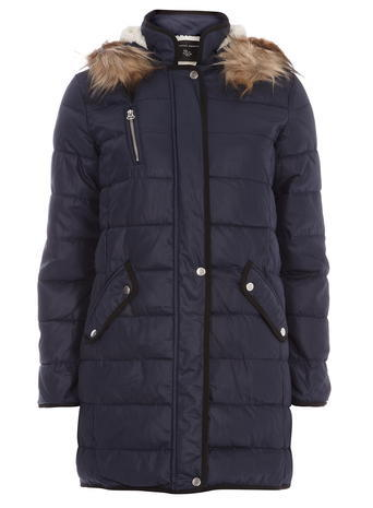 Womens Navy Tipped Luxe Padded Coat Blue - pattern: plain; collar: funnel; style: parka; back detail: hood; length: mid thigh; predominant colour: navy; occasions: casual; fit: straight cut (boxy); fibres: polyester/polyamide - 100%; sleeve length: long sleeve; sleeve style: standard; texture group: technical outdoor fabrics; collar break: high; pattern type: fabric; embellishment: quilted; season: a/w 2015