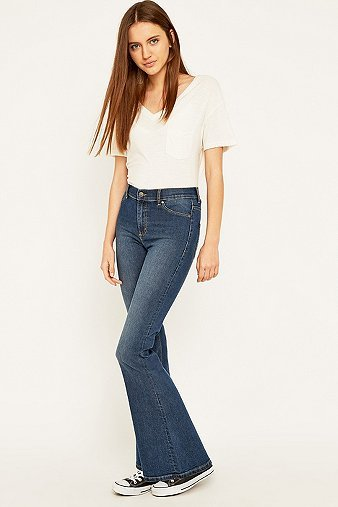 Spray On High Waisted Blue Flared Jeans, Blue - style: flares; length: standard; pattern: plain; waist: high rise; pocket detail: traditional 5 pocket; predominant colour: denim; occasions: casual; fibres: cotton - stretch; jeans detail: shading down centre of thigh; texture group: denim; pattern type: fabric; season: a/w 2015; wardrobe: basic