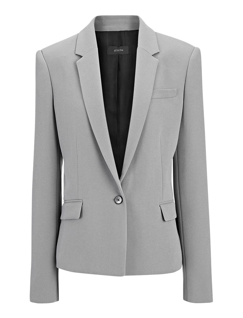 Crepe Stretch New Will Jacket In Slate Grey - pattern: plain; style: single breasted blazer; collar: standard lapel/rever collar; predominant colour: mid grey; occasions: evening, work; length: standard; fit: tailored/fitted; fibres: polyester/polyamide - mix; sleeve length: long sleeve; sleeve style: standard; collar break: medium; pattern type: fabric; texture group: woven light midweight; season: a/w 2015; wardrobe: investment