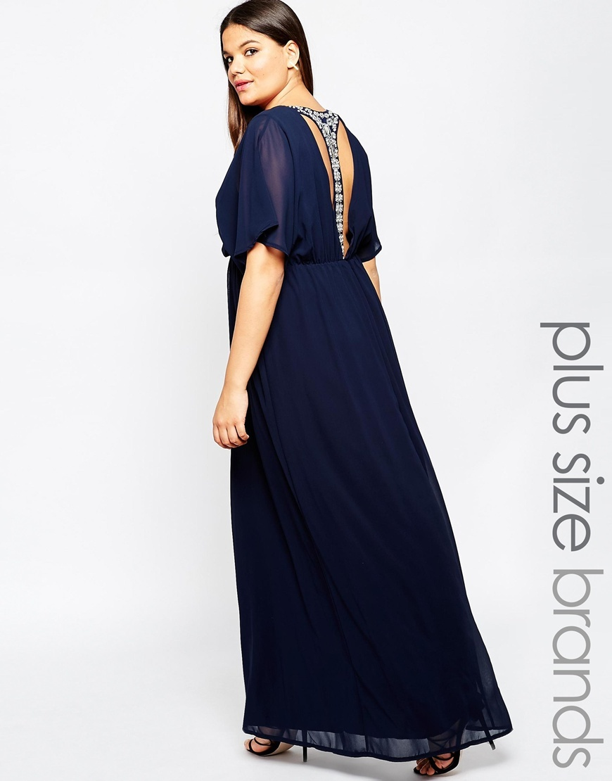 Plus Size Maxi Dress With T Bar Embellished Back Navy - neckline: round neck; sleeve style: angel/waterfall; fit: fitted at waist; pattern: plain; style: maxi dress; length: ankle length; predominant colour: navy; secondary colour: silver; occasions: evening; fibres: polyester/polyamide - 100%; hip detail: subtle/flattering hip detail; sleeve length: half sleeve; texture group: sheer fabrics/chiffon/organza etc.; pattern type: fabric; season: a/w 2015; wardrobe: event; embellishment location: back