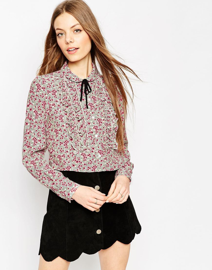 Ruffle Front Blouse In Ditsy Print With Contrast Tie Multi - neckline: pussy bow; style: blouse; predominant colour: black; occasions: casual, work, creative work; length: standard; fibres: viscose/rayon - 100%; fit: body skimming; sleeve length: long sleeve; sleeve style: standard; pattern type: fabric; pattern: florals; texture group: other - light to midweight; pattern size: big & busy (top); multicoloured: multicoloured; season: a/w 2015; wardrobe: highlight