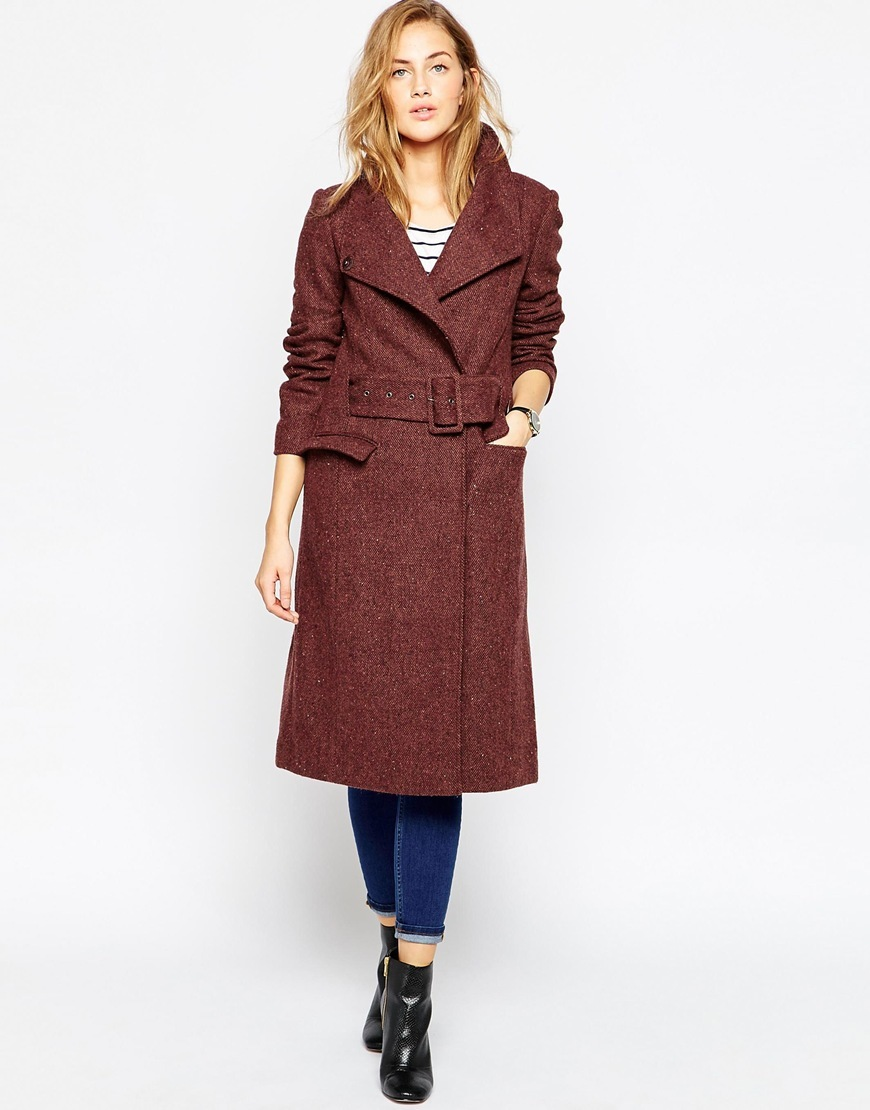 Coat In Funnel Neck In Tweed Wine - style: wrap around; collar: standard lapel/rever collar; pattern: herringbone/tweed; predominant colour: burgundy; occasions: casual, creative work; fit: straight cut (boxy); fibres: wool - mix; length: below the knee; sleeve length: long sleeve; sleeve style: standard; collar break: medium; pattern type: fabric; pattern size: standard; texture group: tweed - bulky/heavy; season: a/w 2015; wardrobe: highlight