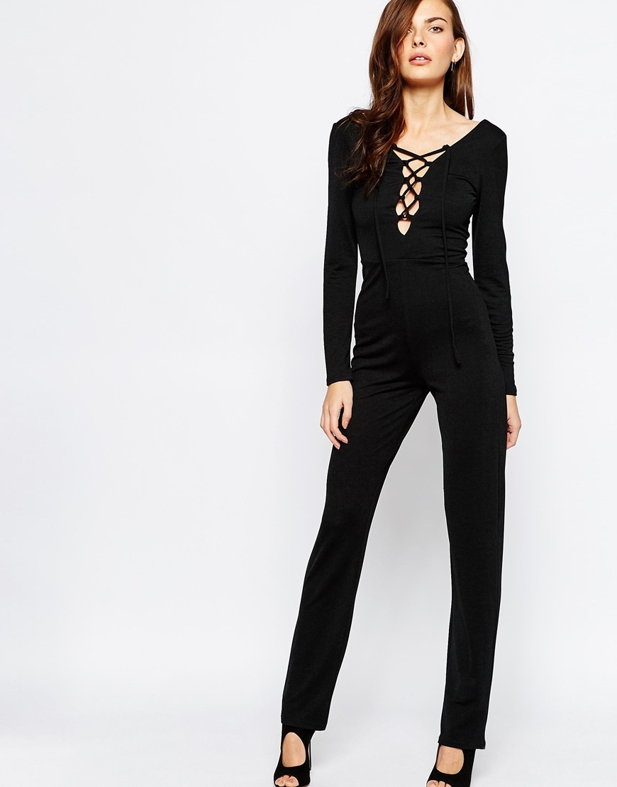Jumpsuit With Extreme Lace Up Detail Black - length: standard; pattern: plain; predominant colour: black; occasions: evening, occasion; fit: body skimming; neckline: scoop; fibres: polyester/polyamide - stretch; sleeve length: long sleeve; sleeve style: standard; style: jumpsuit; pattern type: fabric; texture group: jersey - stretchy/drapey; season: a/w 2015