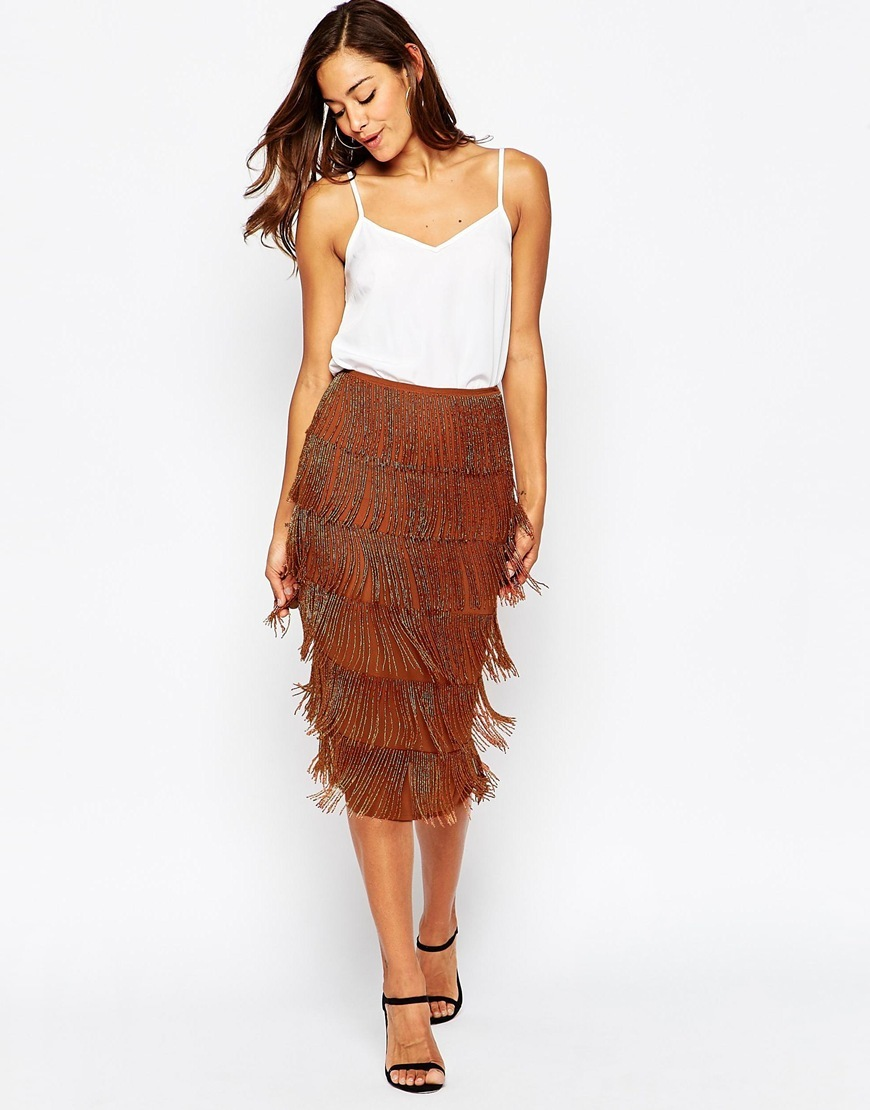 All Over Beaded Fringe Skirt Bronze - length: below the knee; pattern: plain; style: pencil; fit: tailored/fitted; waist: high rise; predominant colour: tan; occasions: evening; fibres: polyester/polyamide - 100%; pattern type: fabric; texture group: other - light to midweight; embellishment: fringing; season: a/w 2015; wardrobe: event; embellishment location: all over, hip