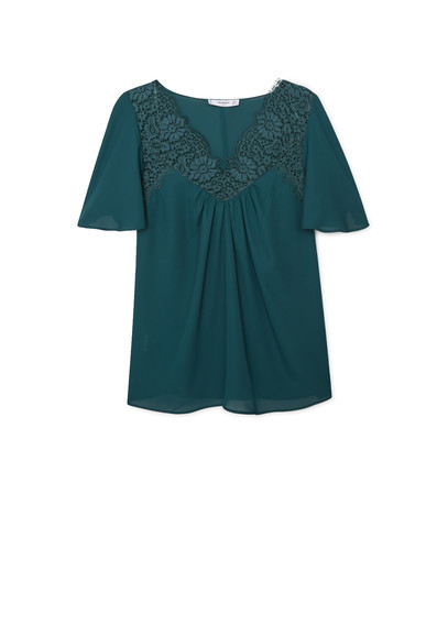 Lace Panel Blouse - neckline: v-neck; style: blouse; predominant colour: teal; occasions: casual; length: standard; fibres: polyester/polyamide - 100%; fit: straight cut; sleeve length: short sleeve; sleeve style: standard; pattern type: fabric; pattern size: standard; pattern: patterned/print; texture group: jersey - stretchy/drapey; embellishment: lace; season: a/w 2015