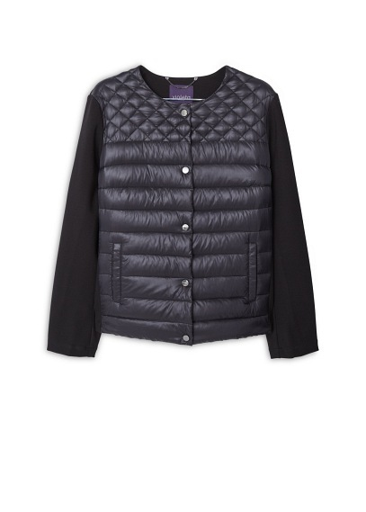 Mixed Quilted Jacket - pattern: plain; collar: round collar/collarless; style: bomber; predominant colour: black; occasions: casual; length: standard; fit: straight cut (boxy); sleeve length: long sleeve; sleeve style: standard; texture group: technical outdoor fabrics; collar break: high; pattern type: fabric; season: a/w 2015