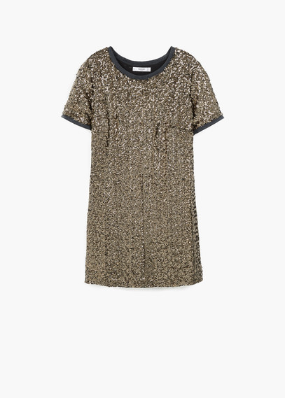 Sequined Dress - length: mini; pattern: plain; style: maxi dress; predominant colour: gold; occasions: evening, occasion; fit: straight cut; fibres: polyester/polyamide - 100%; neckline: crew; sleeve length: short sleeve; sleeve style: standard; pattern type: fabric; texture group: jersey - stretchy/drapey; embellishment: sequins; season: a/w 2015