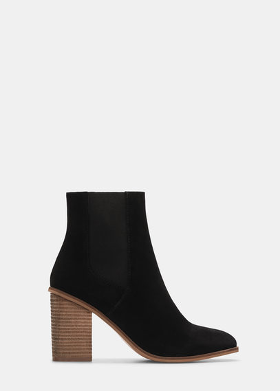 Heel Leather Ankle Boot - secondary colour: camel; predominant colour: black; occasions: casual, creative work; material: suede; heel height: high; embellishment: elasticated; heel: block; toe: round toe; boot length: ankle boot; style: standard; finish: plain; pattern: plain; season: a/w 2015