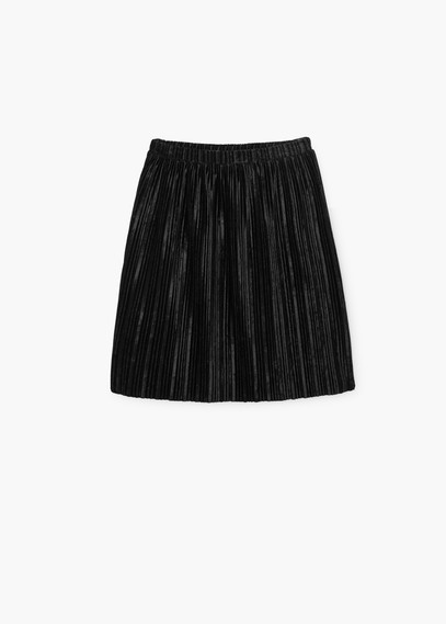 Pleated Velvet Skirt - length: mid thigh; pattern: plain; fit: loose/voluminous; style: pleated; waist detail: elasticated waist; waist: mid/regular rise; predominant colour: black; occasions: casual, creative work; pattern type: fabric; texture group: other - light to midweight; season: a/w 2015