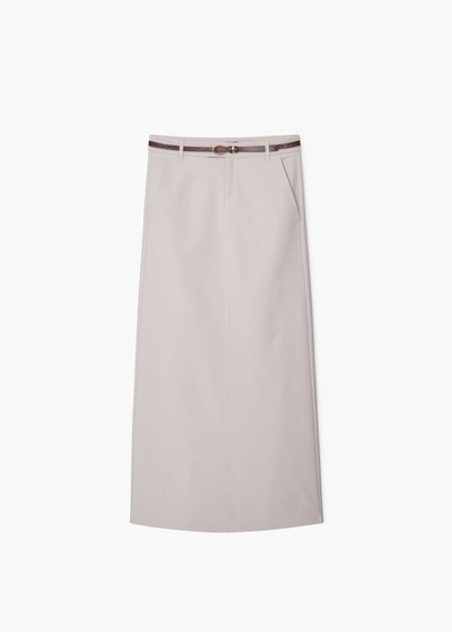 Belt Long Skirt - length: below the knee; pattern: plain; style: straight; waist: high rise; waist detail: belted waist/tie at waist/drawstring; predominant colour: stone; fibres: polyester/polyamide - mix; fit: straight cut; pattern type: fabric; texture group: other - light to midweight; occasions: creative work; season: a/w 2015