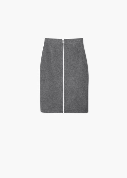 Wool Blend Zip Skirt - pattern: plain; style: pencil; fit: tailored/fitted; waist: high rise; predominant colour: light grey; occasions: casual, creative work; length: just above the knee; fibres: wool - mix; pattern type: fabric; texture group: woven light midweight; embellishment: zips; season: a/w 2015