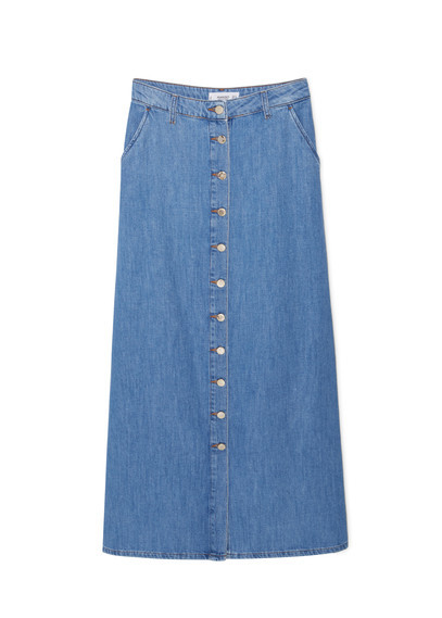 Buttoned Denim Skirt - length: calf length; pattern: plain; fit: loose/voluminous; waist: mid/regular rise; predominant colour: denim; occasions: casual, creative work; style: a-line; fibres: cotton - stretch; texture group: denim; pattern type: fabric; season: a/w 2015