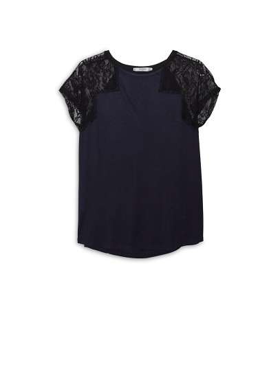 Lace Sleeve T Shirt - sleeve style: capped; pattern: plain; style: t-shirt; predominant colour: navy; occasions: casual; length: standard; fibres: cotton - stretch; fit: loose; neckline: crew; sleeve length: short sleeve; pattern type: fabric; texture group: jersey - stretchy/drapey; embellishment: lace; shoulder detail: sheer at shoulder; season: a/w 2015