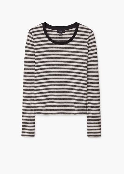 Metallic Striped T Shirt - neckline: round neck; pattern: horizontal stripes; style: t-shirt; secondary colour: ivory/cream; predominant colour: champagne; occasions: casual; length: standard; fibres: viscose/rayon - stretch; fit: body skimming; sleeve length: long sleeve; sleeve style: standard; pattern type: fabric; pattern size: standard; texture group: jersey - stretchy/drapey; season: a/w 2015