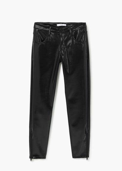 Zipped Vinyl Trousers - length: standard; pattern: plain; pocket detail: traditional 5 pocket; waist: mid/regular rise; predominant colour: black; occasions: casual, creative work; texture group: leather; fit: slim leg; pattern type: fabric; style: standard; season: a/w 2015