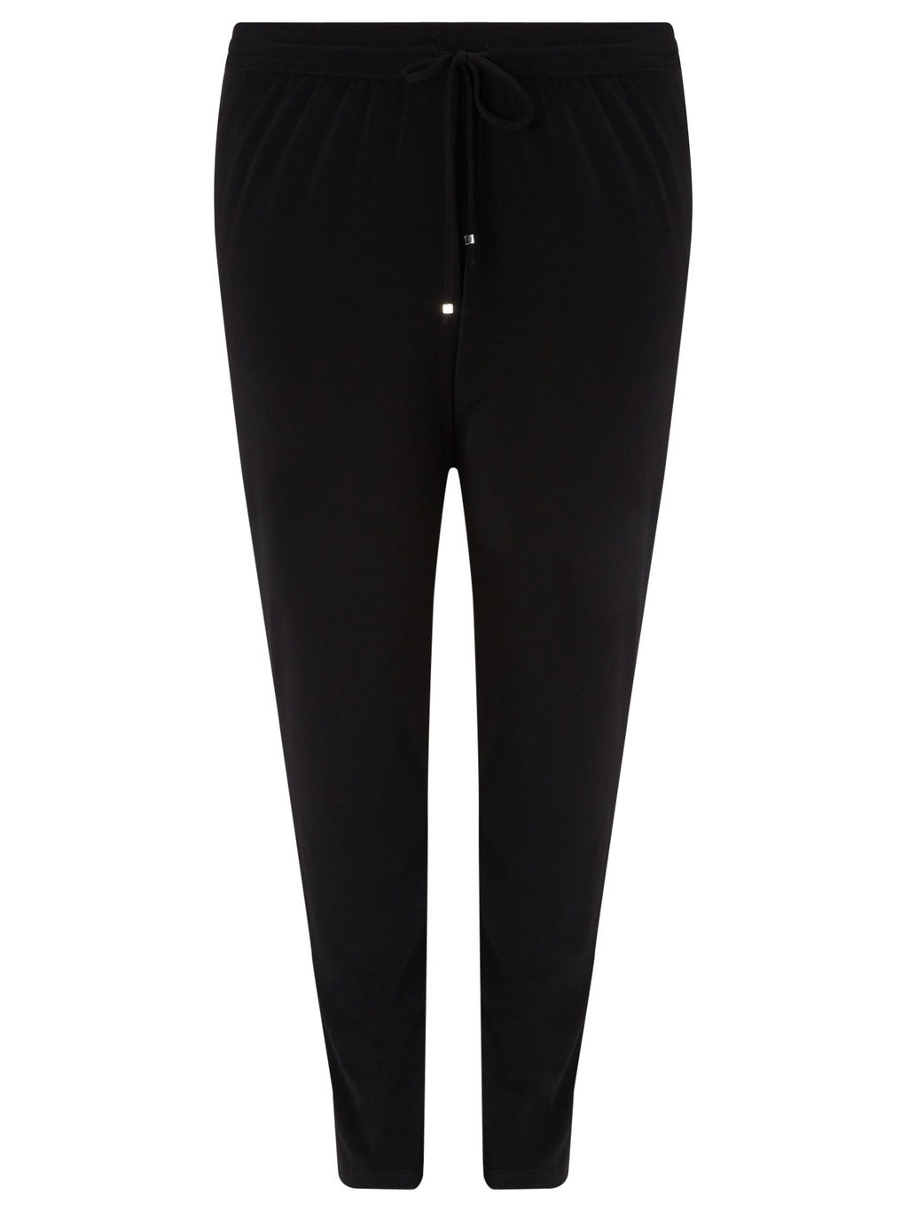 Plain Jersey Tie Waist Trouser - pattern: plain; style: harem/slouch; waist detail: belted waist/tie at waist/drawstring; waist: mid/regular rise; predominant colour: black; length: ankle length; fit: tapered; pattern type: fabric; texture group: jersey - stretchy/drapey; occasions: creative work; season: a/w 2015