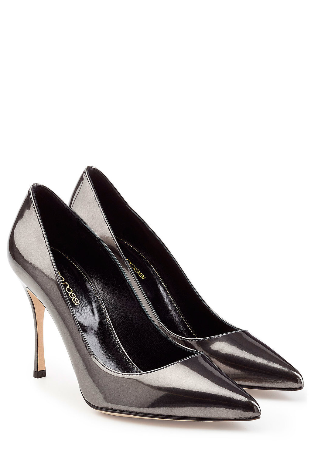 Patent Leather Pumps Black - predominant colour: silver; occasions: evening; material: leather; heel height: high; heel: stiletto; toe: pointed toe; style: courts; finish: metallic; pattern: plain; season: a/w 2015; wardrobe: event
