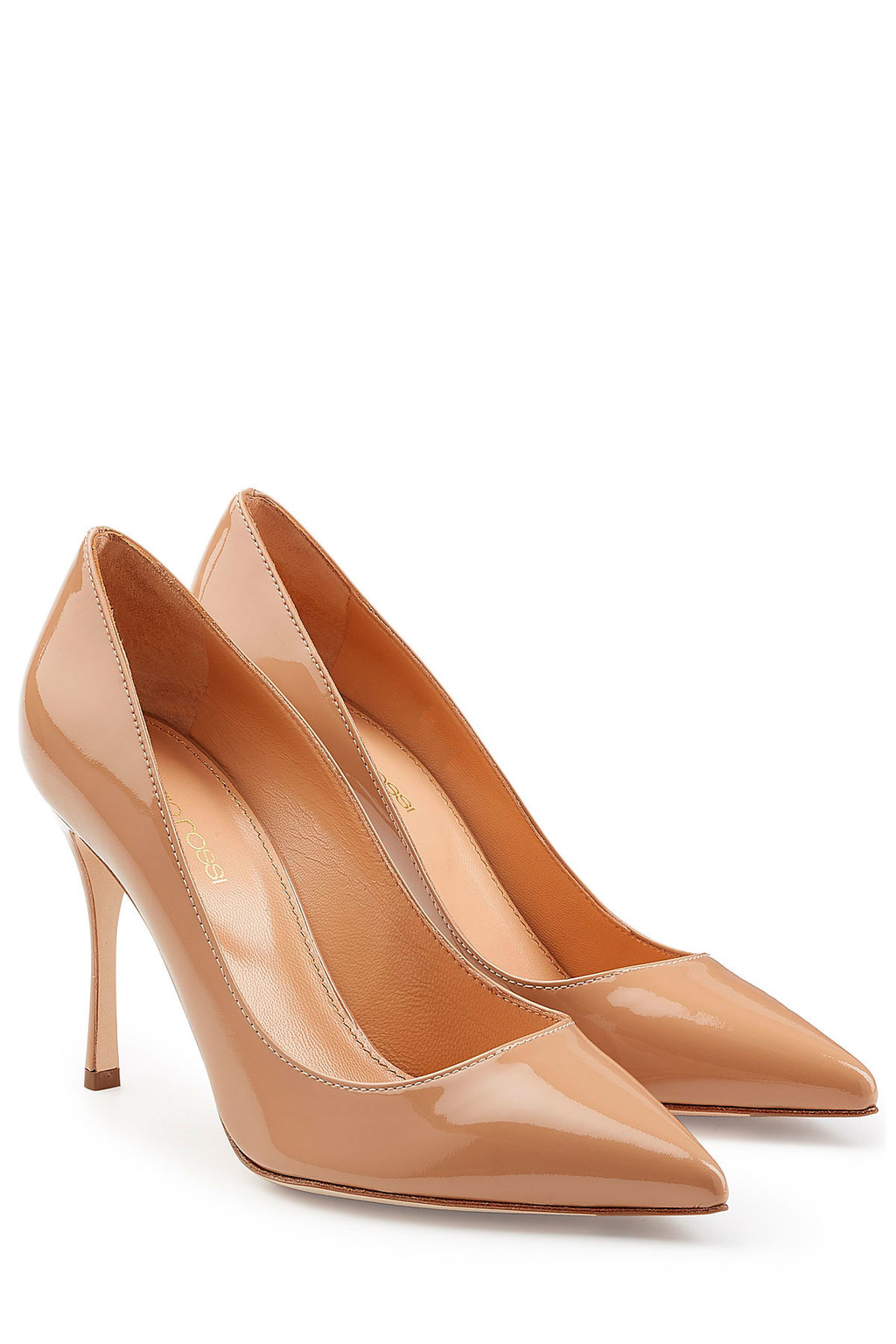 Patent Leather Pumps Beige - predominant colour: nude; occasions: evening, occasion, creative work; material: leather; heel: stiletto; toe: pointed toe; style: courts; finish: patent; pattern: plain; heel height: very high; season: a/w 2015; wardrobe: highlight