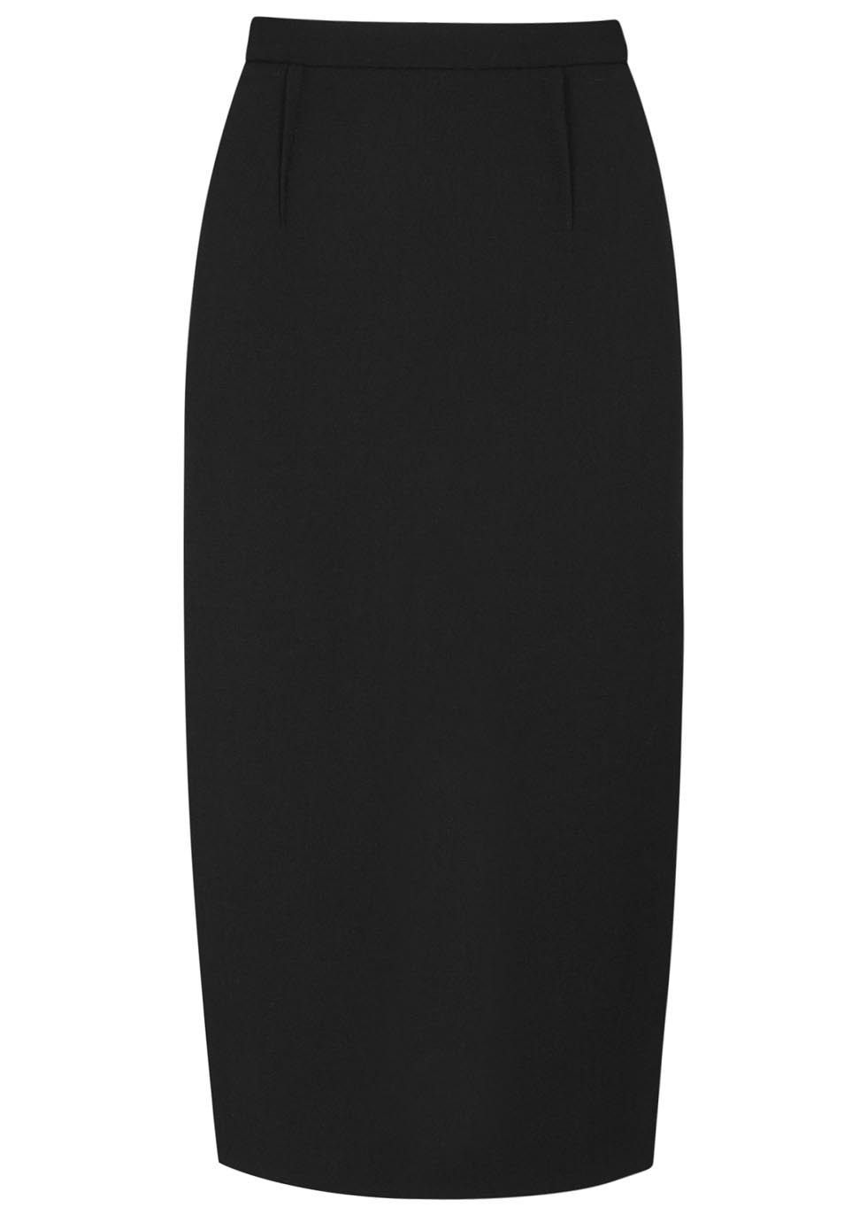 Arreton Black Wool Crepe Pencil Skirt - length: below the knee; pattern: plain; style: pencil; fit: tailored/fitted; waist: high rise; predominant colour: black; occasions: evening, work; fibres: wool - 100%; pattern type: fabric; texture group: woven light midweight; season: a/w 2015; wardrobe: basic