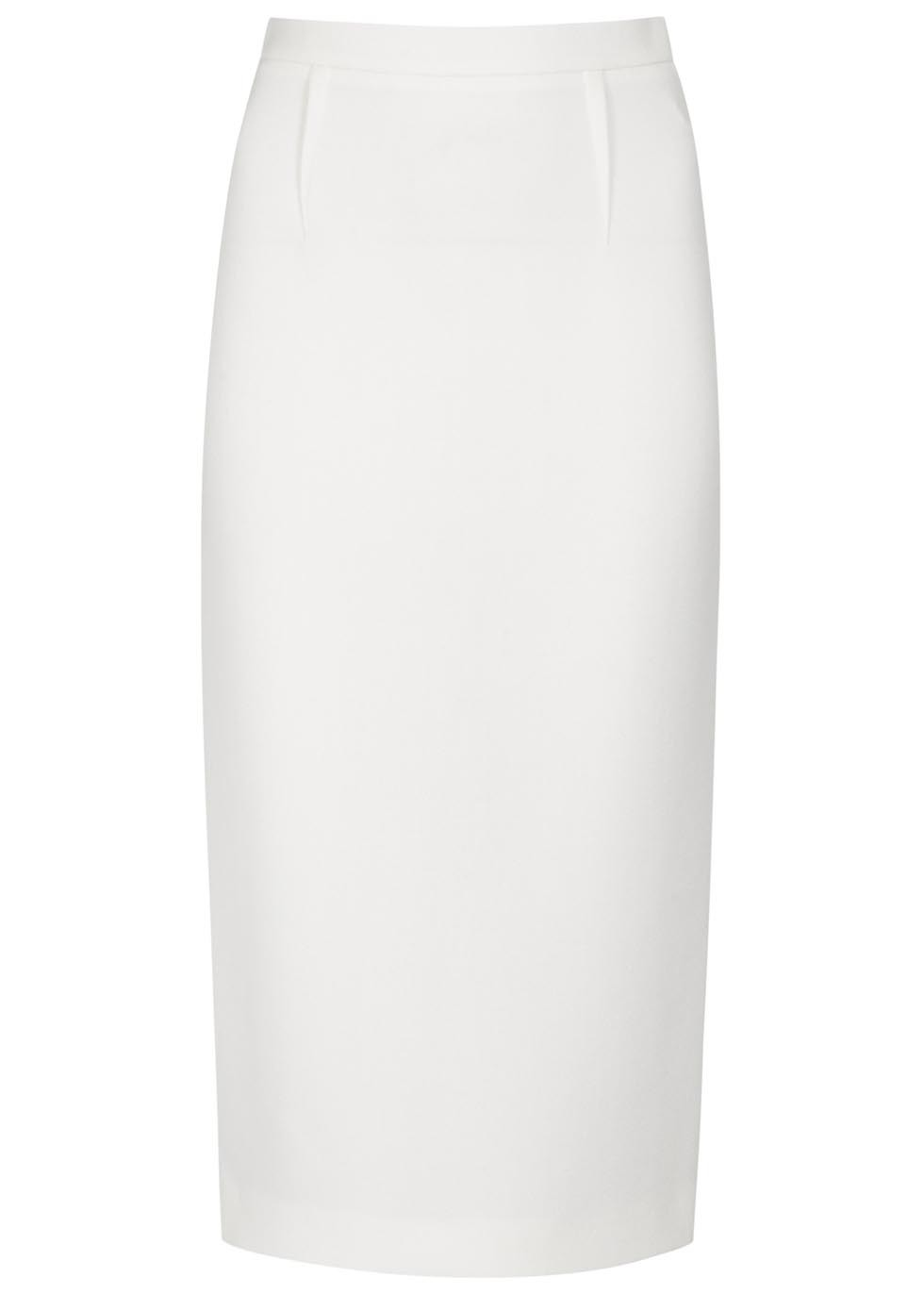 Arreton Ivory Wool Crepe Pencil Skirt - length: below the knee; pattern: plain; style: pencil; fit: tailored/fitted; waist: high rise; predominant colour: white; occasions: evening; fibres: wool - 100%; pattern type: fabric; texture group: woven light midweight; season: a/w 2015