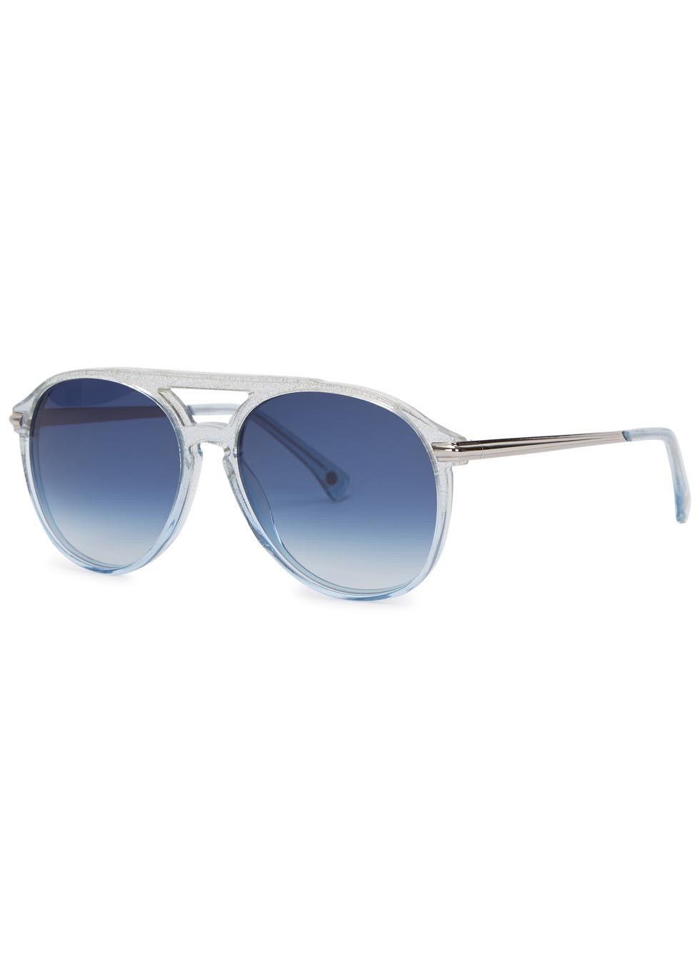 Baroness Glittered Aviator Style Sunglasses - secondary colour: royal blue; occasions: casual, holiday; style: aviator; size: standard; material: plastic/rubber; pattern: plain; finish: plain; predominant colour: clear; season: a/w 2015