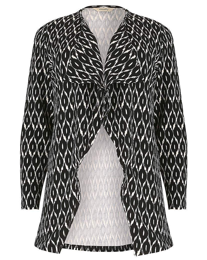 Emily Waterfall Wrap Jacket - pattern: horizontal stripes; style: single breasted blazer; collar: shawl/waterfall; fit: loose; predominant colour: black; occasions: casual, creative work; length: standard; fibres: polyester/polyamide - stretch; sleeve length: long sleeve; sleeve style: standard; collar break: medium; pattern type: fabric; texture group: woven light midweight; pattern size: big & busy (top); season: a/w 2015