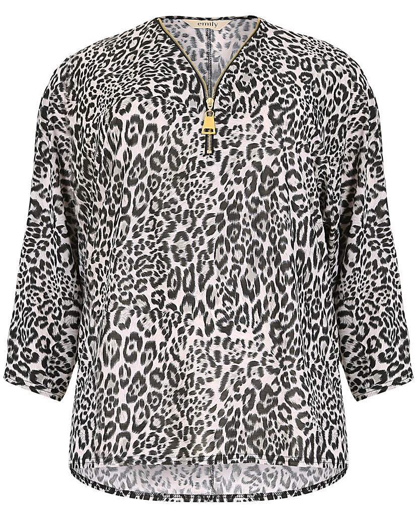 Emily Zip Front Print Top - neckline: v-neck; style: blouse; secondary colour: white; predominant colour: mid grey; occasions: casual; length: standard; fibres: polyester/polyamide - stretch; fit: body skimming; sleeve length: 3/4 length; sleeve style: standard; texture group: cotton feel fabrics; pattern type: fabric; pattern size: light/subtle; pattern: animal print; season: a/w 2015; wardrobe: highlight