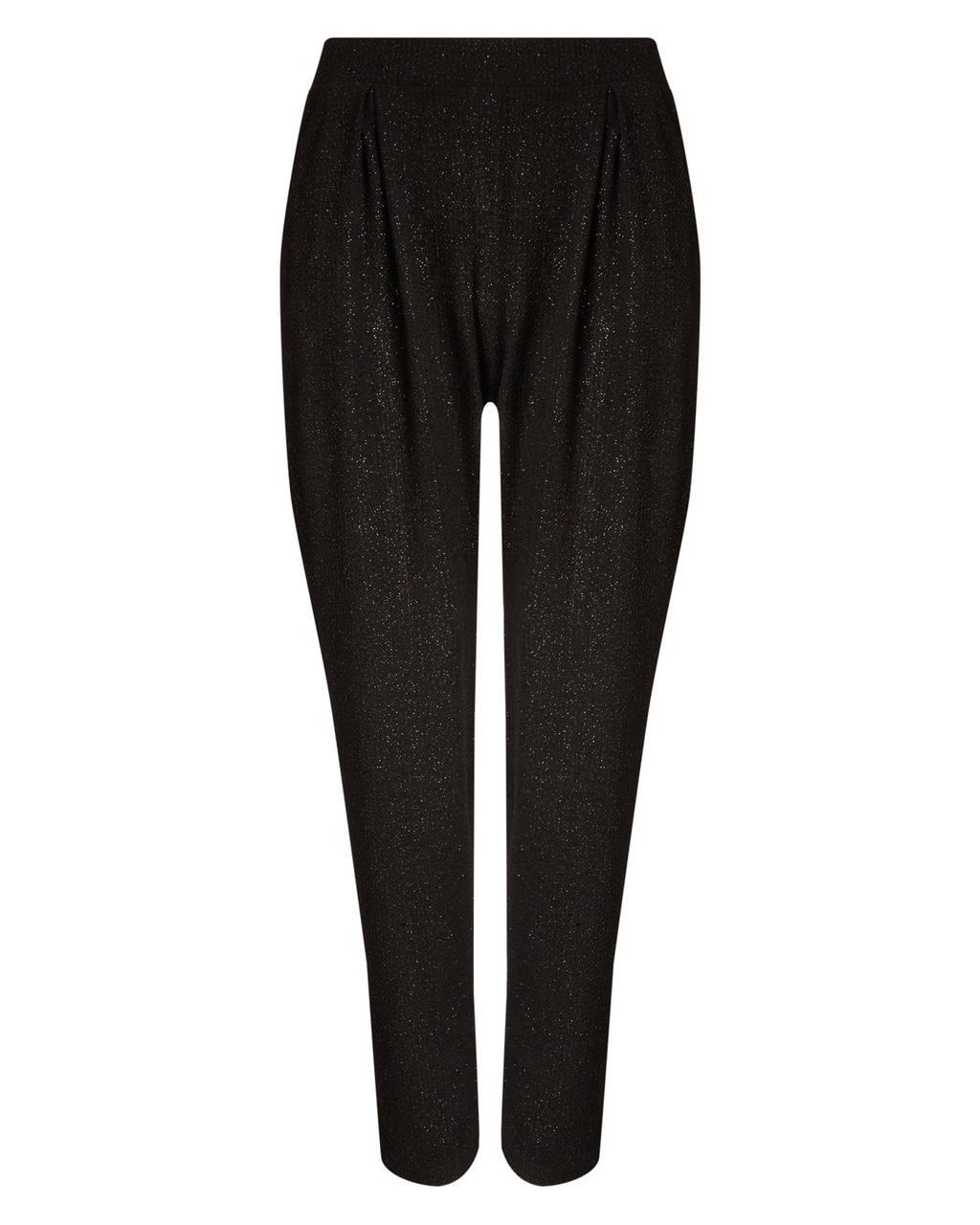 Lexie Sparkle Soft Trouser - length: standard; pattern: plain; waist detail: elasticated waist; style: peg leg; waist: high rise; predominant colour: black; occasions: evening; fibres: polyester/polyamide - stretch; fit: tapered; pattern type: fabric; texture group: woven light midweight; embellishment: glitter; season: a/w 2015; wardrobe: event