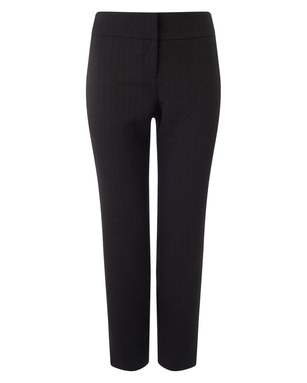 Erica Jacquard Trouser - pattern: plain; waist: mid/regular rise; predominant colour: black; length: ankle length; fibres: polyester/polyamide - stretch; fit: straight leg; pattern type: fabric; texture group: brocade/jacquard; style: standard; occasions: creative work; season: a/w 2015; wardrobe: basic