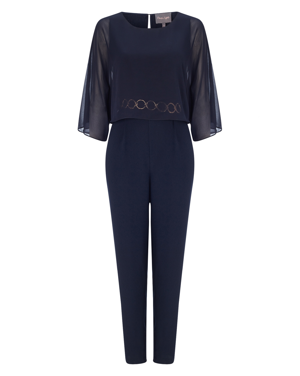 Janessa Jumpsuit - length: standard; neckline: round neck; fit: tailored/fitted; pattern: plain; bust detail: subtle bust detail; secondary colour: white; predominant colour: navy; occasions: evening, occasion; fibres: polyester/polyamide - mix; sleeve length: 3/4 length; sleeve style: standard; texture group: crepes; style: jumpsuit; pattern type: fabric; embellishment: sequins; shoulder detail: sheer at shoulder; season: a/w 2015; wardrobe: event; embellishment location: waist