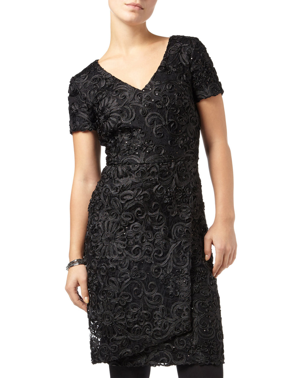 Demi Tapework Sequin Dress - style: shift; neckline: v-neck; predominant colour: black; occasions: evening, occasion; length: just above the knee; fit: body skimming; fibres: polyester/polyamide - 100%; sleeve length: short sleeve; sleeve style: standard; pattern type: fabric; pattern size: standard; pattern: patterned/print; texture group: woven light midweight; embellishment: sequins; season: a/w 2015; wardrobe: event