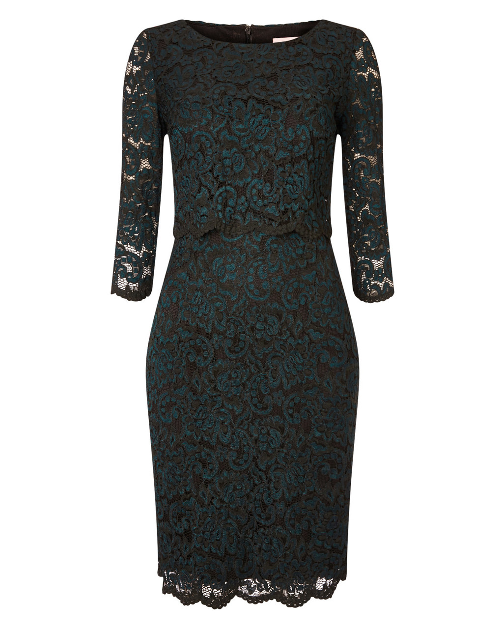 Keke Lace Dress - style: shift; hip detail: fitted at hip; predominant colour: teal; length: on the knee; fit: body skimming; fibres: nylon - mix; occasions: occasion; neckline: crew; sleeve length: 3/4 length; sleeve style: standard; texture group: lace; pattern type: fabric; pattern: patterned/print; embellishment: lace; season: a/w 2015; wardrobe: event