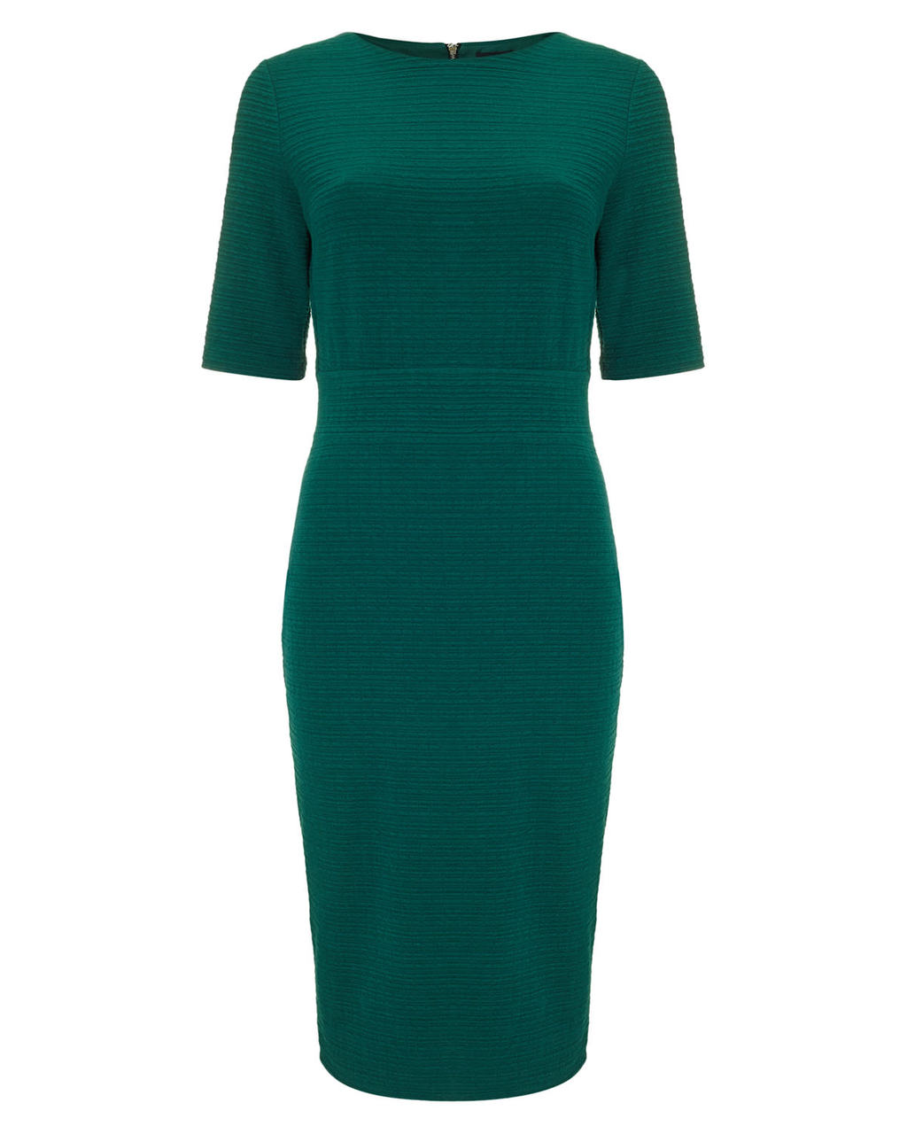 Tamzin Textured Midi Dress - style: shift; length: below the knee; pattern: plain; predominant colour: dark green; occasions: evening, occasion; fit: fitted at waist & bust; fibres: polyester/polyamide - stretch; neckline: crew; sleeve length: short sleeve; sleeve style: standard; pattern type: fabric; texture group: jersey - stretchy/drapey; season: a/w 2015; wardrobe: event