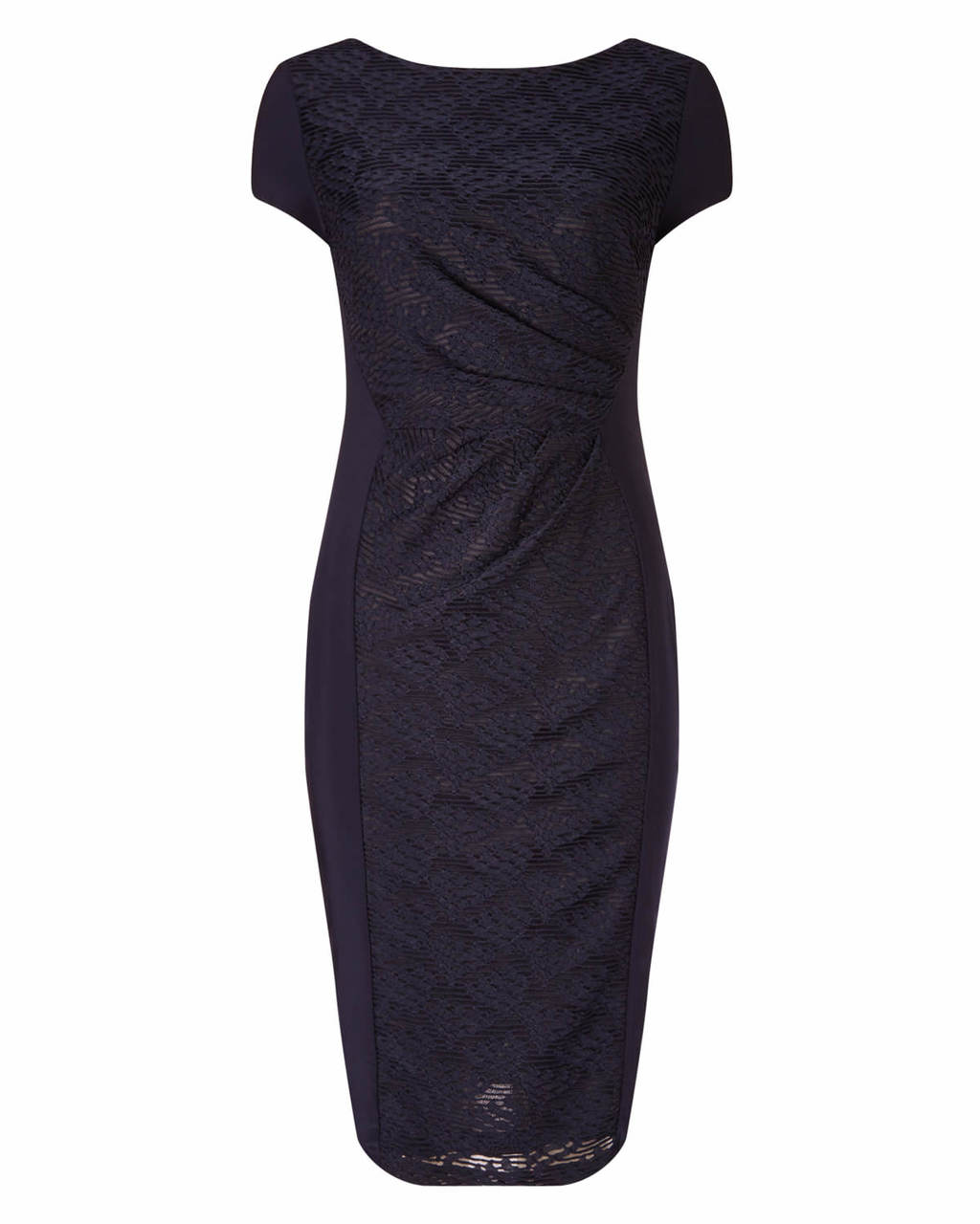 Allesandra Textured Dress - length: below the knee; neckline: slash/boat neckline; sleeve style: capped; fit: tight; pattern: plain; style: bodycon; waist detail: flattering waist detail; hip detail: draws attention to hips; predominant colour: navy; occasions: evening, occasion; fibres: polyester/polyamide - 100%; sleeve length: short sleeve; pattern type: fabric; texture group: woven light midweight; season: a/w 2015; wardrobe: event