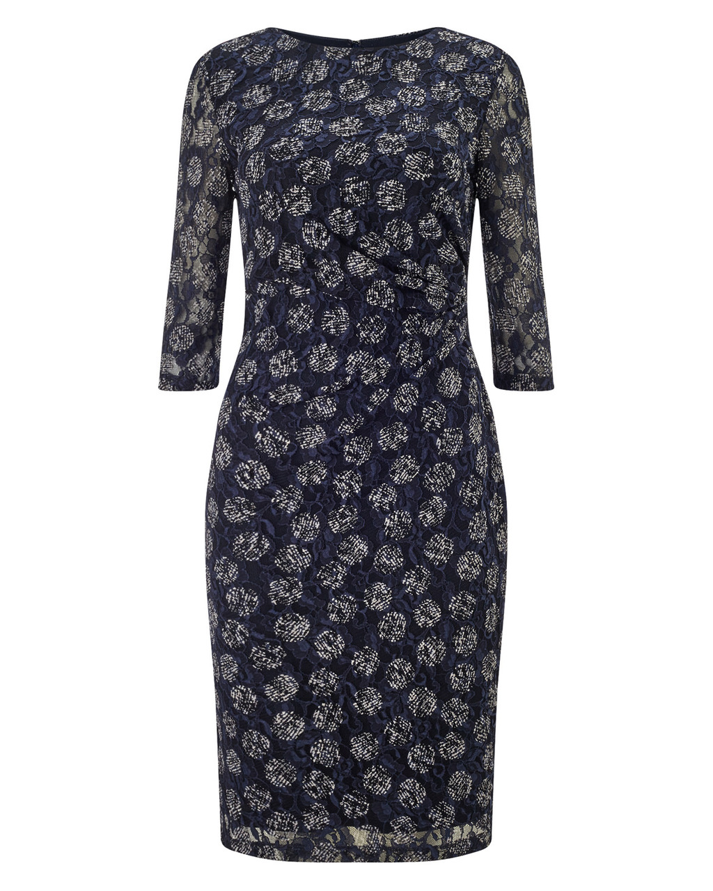 Textured Lace Spot Dress - style: shift; secondary colour: lilac; predominant colour: navy; length: on the knee; fit: body skimming; fibres: polyester/polyamide - stretch; occasions: occasion; neckline: crew; sleeve length: 3/4 length; sleeve style: standard; texture group: lace; pattern type: fabric; pattern size: standard; pattern: patterned/print; season: a/w 2015