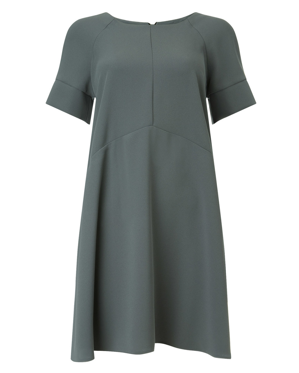 Zelda Dress - style: tunic; pattern: plain; predominant colour: charcoal; occasions: evening, creative work; length: just above the knee; fit: soft a-line; fibres: polyester/polyamide - 100%; neckline: crew; sleeve length: short sleeve; sleeve style: standard; texture group: crepes; pattern type: fabric; pattern size: standard; season: a/w 2015; wardrobe: investment
