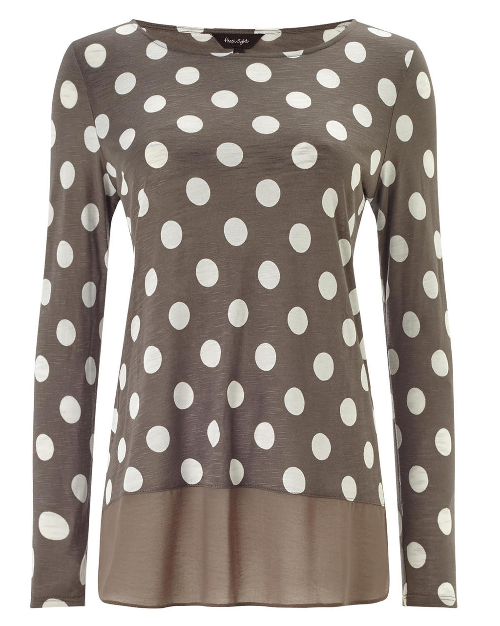 Kelly Spot Woven Hem Top - neckline: round neck; length: below the bottom; style: t-shirt; pattern: polka dot; secondary colour: white; predominant colour: taupe; occasions: casual, creative work; fibres: polyester/polyamide - 100%; fit: body skimming; sleeve length: long sleeve; sleeve style: standard; pattern type: fabric; pattern size: light/subtle; texture group: jersey - stretchy/drapey; season: a/w 2015; wardrobe: highlight