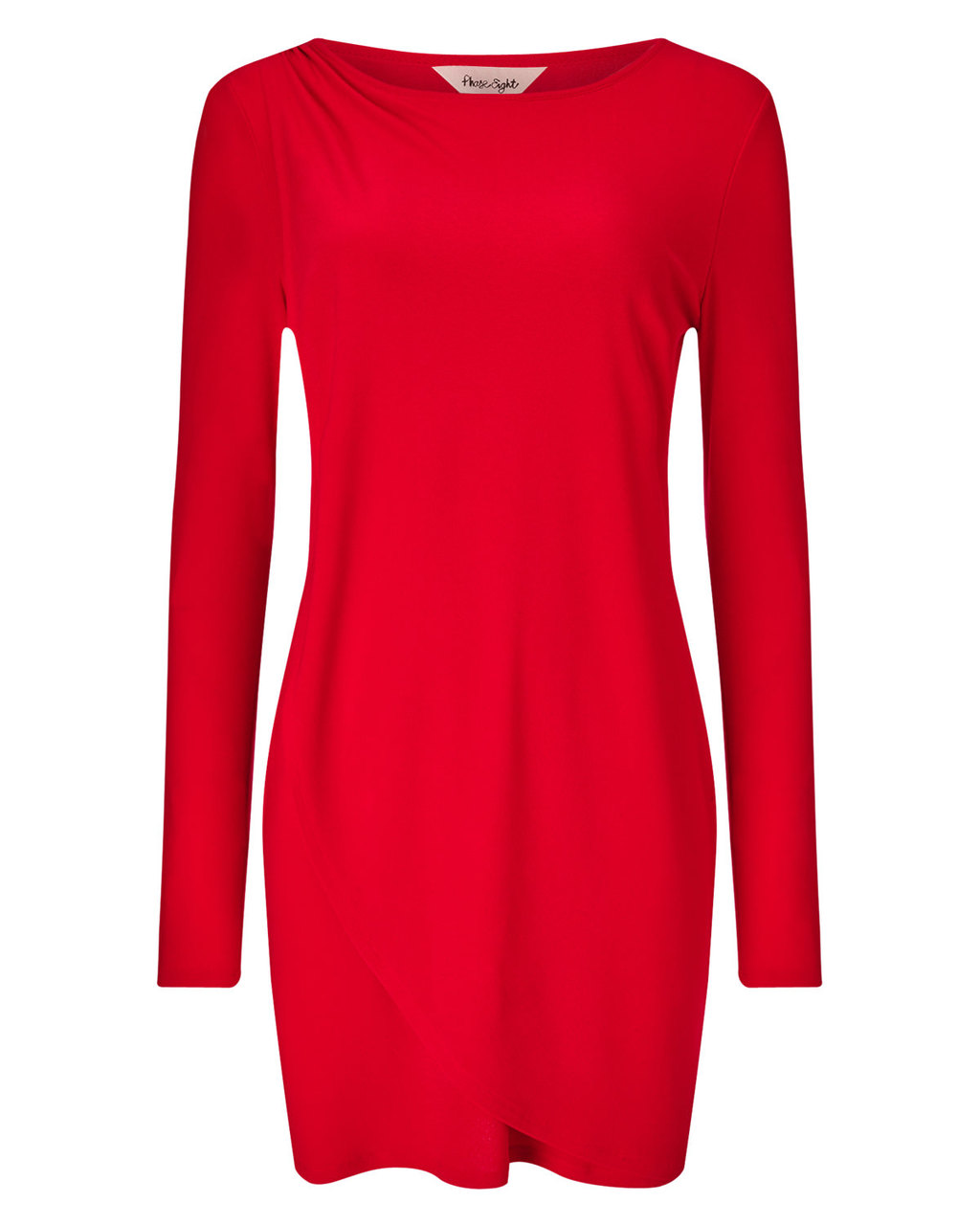 Dotty Draped Tunic - neckline: round neck; pattern: plain; style: tunic; predominant colour: true red; occasions: casual, creative work; fibres: cotton - 100%; fit: straight cut; length: mid thigh; sleeve length: long sleeve; sleeve style: standard; pattern type: fabric; texture group: jersey - stretchy/drapey; season: a/w 2015; wardrobe: highlight