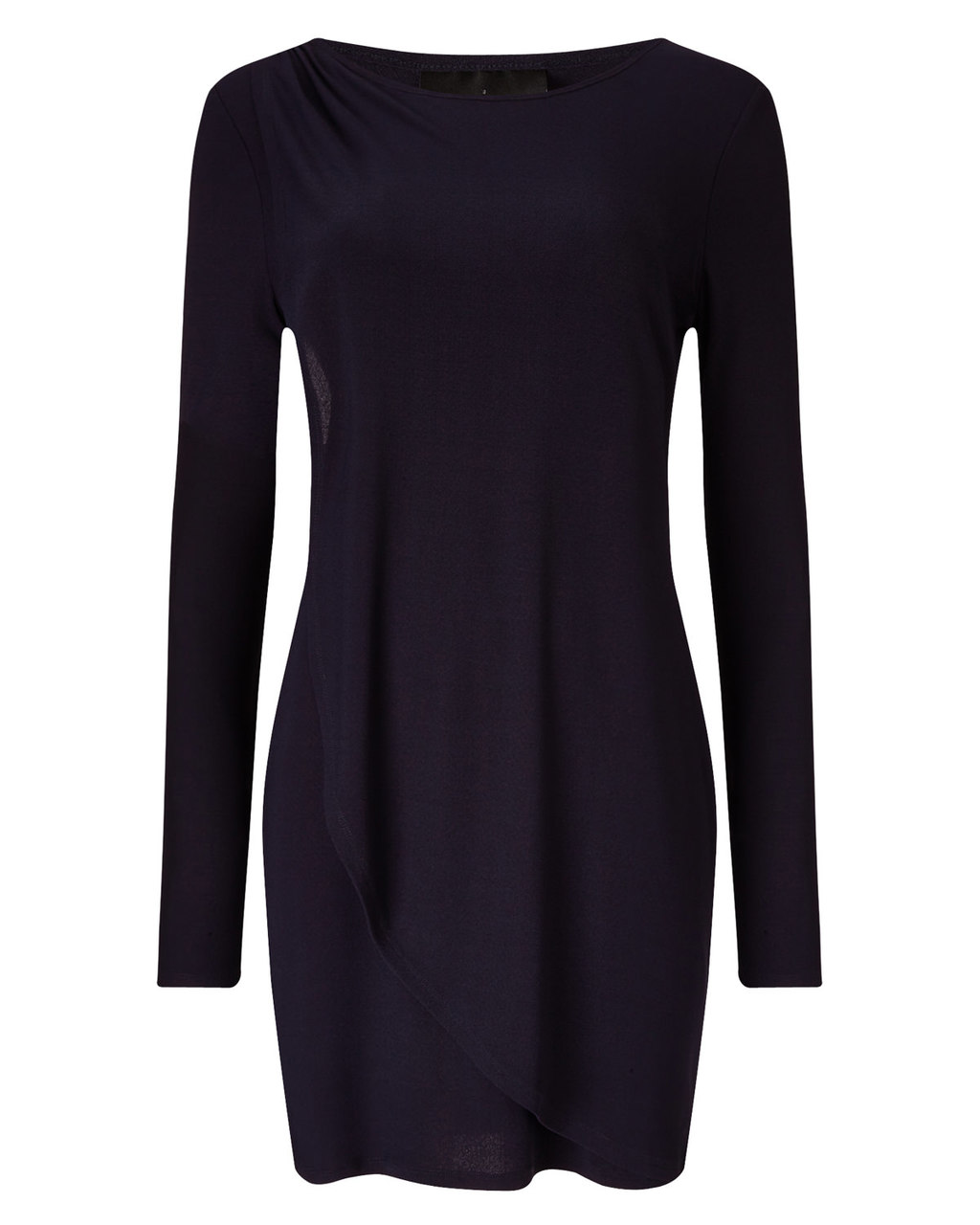Dotty Draped Tunic - neckline: slash/boat neckline; pattern: plain; style: tunic; predominant colour: navy; occasions: casual, creative work; fibres: cotton - 100%; fit: straight cut; length: mid thigh; sleeve length: long sleeve; sleeve style: standard; pattern type: fabric; texture group: jersey - stretchy/drapey; season: a/w 2015; wardrobe: basic