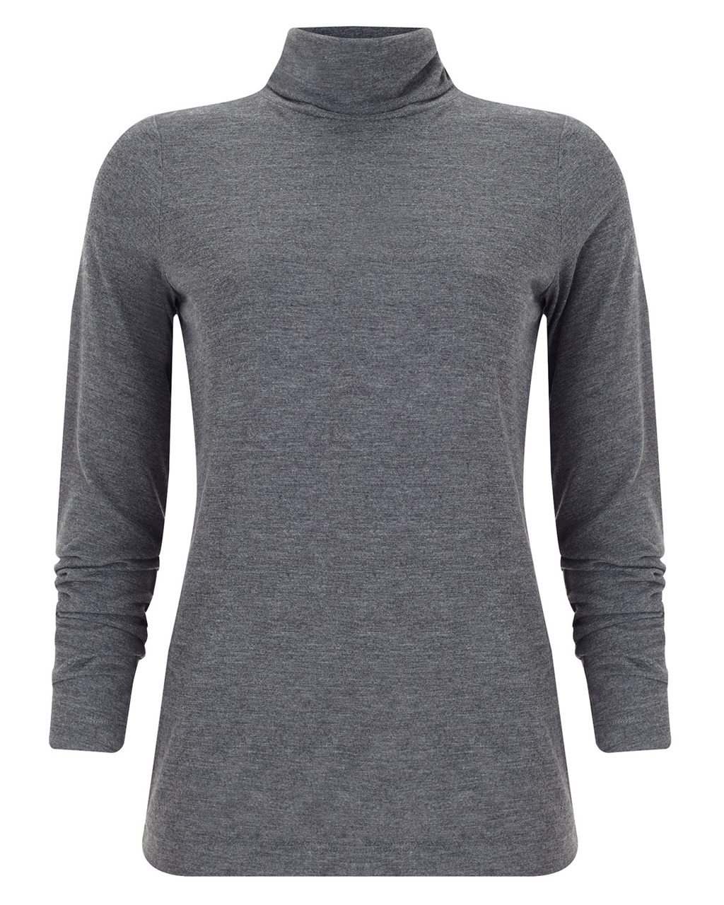 Ginia Roll Neck Top - pattern: plain; style: t-shirt; neckline: roll neck; predominant colour: mid grey; occasions: casual, creative work; length: standard; fibres: polyester/polyamide - mix; fit: body skimming; sleeve length: 3/4 length; sleeve style: standard; pattern type: fabric; texture group: jersey - stretchy/drapey; season: a/w 2015; wardrobe: basic
