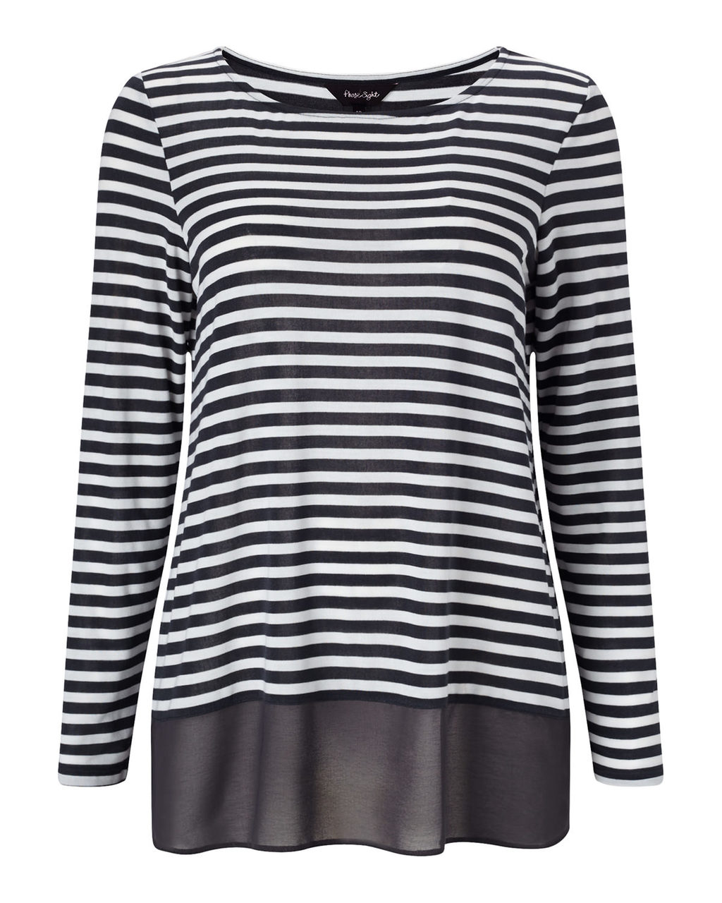 Sandie Stripe Top - neckline: round neck; pattern: horizontal stripes; length: below the bottom; secondary colour: white; predominant colour: black; occasions: casual, creative work; style: top; fibres: polyester/polyamide - stretch; fit: body skimming; sleeve length: long sleeve; sleeve style: standard; pattern type: fabric; texture group: other - light to midweight; pattern size: big & busy (top); season: a/w 2015; wardrobe: basic