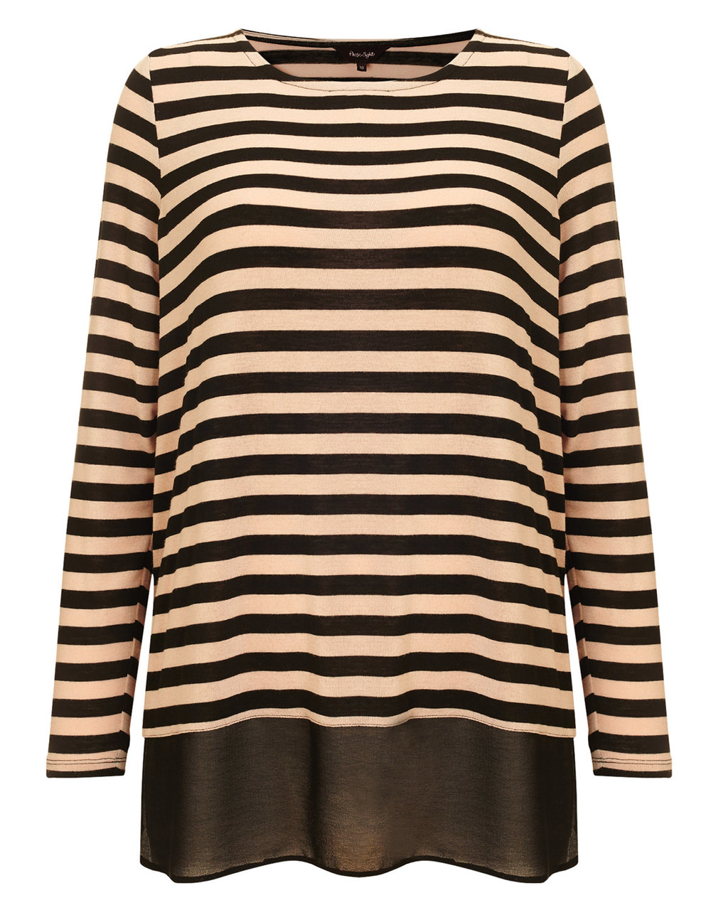 Sandie Stripe Top - neckline: round neck; pattern: horizontal stripes; length: below the bottom; style: t-shirt; secondary colour: chocolate brown; predominant colour: stone; occasions: casual, creative work; fibres: polyester/polyamide - stretch; fit: loose; sleeve length: long sleeve; sleeve style: standard; pattern type: fabric; pattern size: light/subtle; texture group: jersey - stretchy/drapey; season: a/w 2015