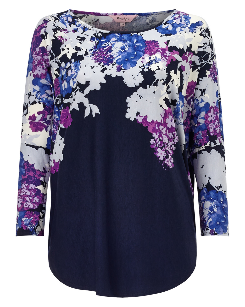 Eleonora Print Top - neckline: round neck; sleeve style: dolman/batwing; secondary colour: aubergine; predominant colour: navy; occasions: casual; length: standard; style: top; fibres: polyester/polyamide - stretch; fit: straight cut; sleeve length: long sleeve; pattern type: fabric; pattern: patterned/print; texture group: jersey - stretchy/drapey; pattern size: big & busy (top); multicoloured: multicoloured; season: a/w 2015; wardrobe: highlight