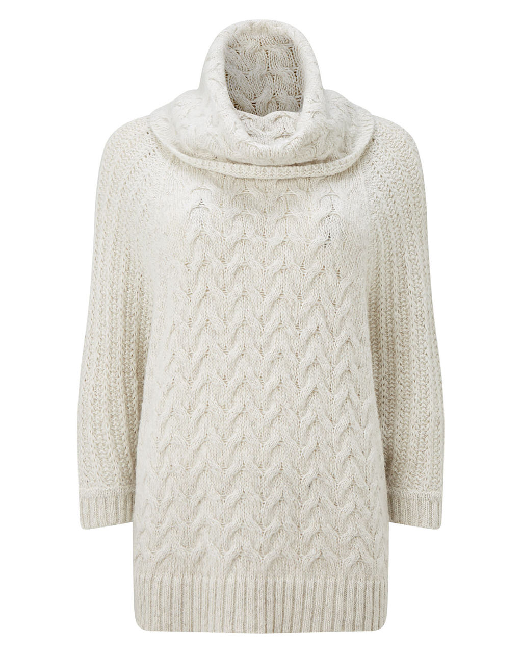 Marina Cable Batwing Knit - sleeve style: dolman/batwing; neckline: wide roll/funnel neck; length: below the bottom; style: standard; pattern: cable knit; predominant colour: ivory/cream; occasions: casual, creative work; fibres: acrylic - mix; fit: loose; sleeve length: long sleeve; texture group: knits/crochet; pattern type: knitted - big stitch; pattern size: standard; season: a/w 2015; wardrobe: highlight