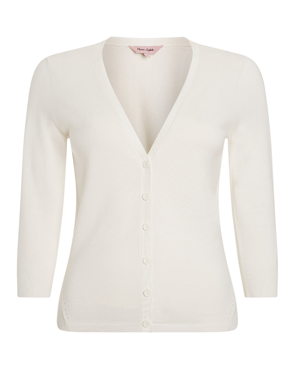 Elin Cardi - neckline: v-neck; pattern: plain; predominant colour: ivory/cream; occasions: casual, creative work; length: standard; style: standard; fibres: cotton - mix; fit: slim fit; sleeve length: 3/4 length; sleeve style: standard; texture group: knits/crochet; pattern type: knitted - fine stitch; season: a/w 2015; wardrobe: basic