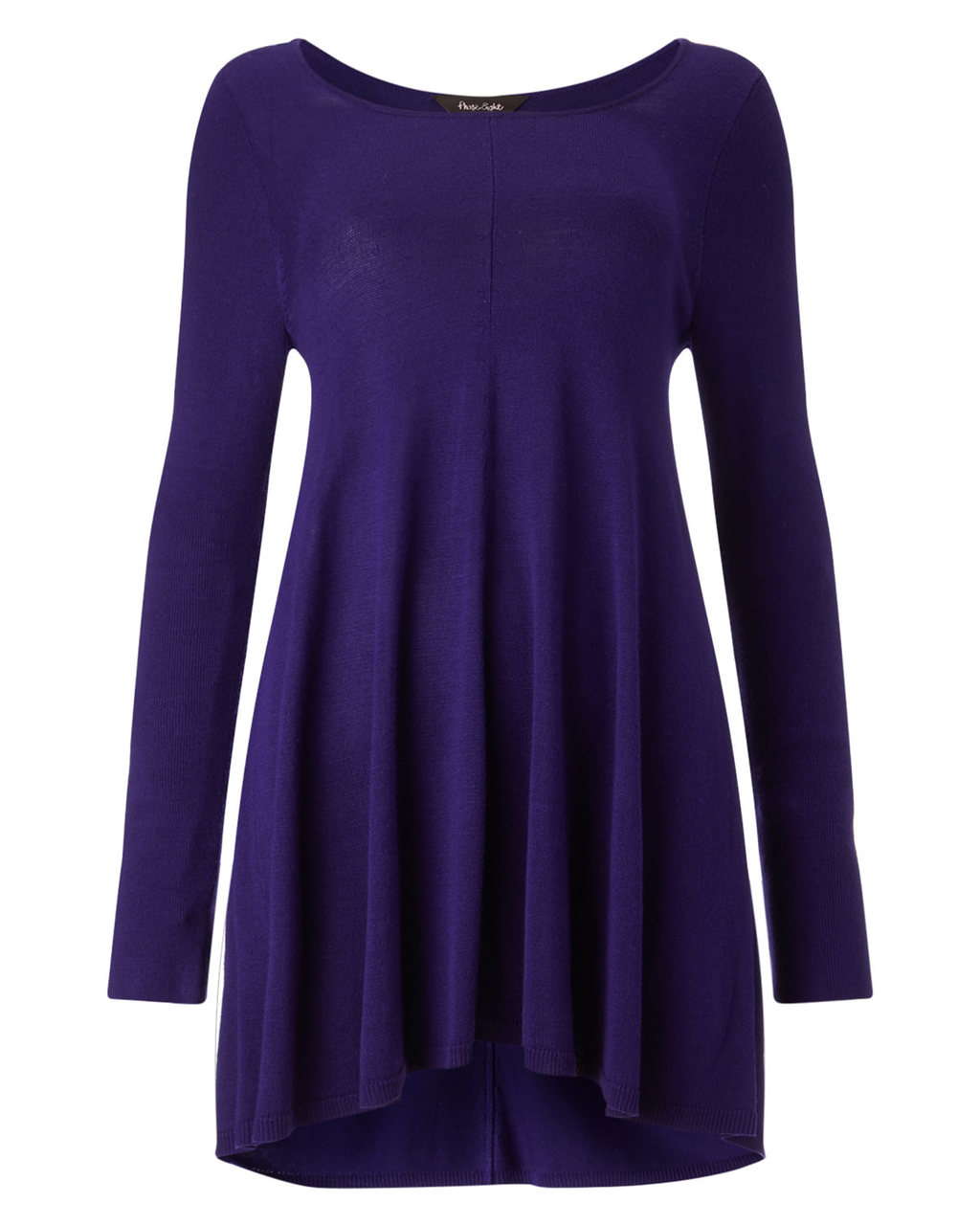 Cali Swing Knit - neckline: scoop neck; pattern: plain; length: below the bottom; style: tunic; predominant colour: purple; occasions: casual; fibres: cotton - mix; fit: loose; sleeve length: long sleeve; sleeve style: standard; texture group: knits/crochet; pattern type: knitted - fine stitch; season: a/w 2015; wardrobe: highlight